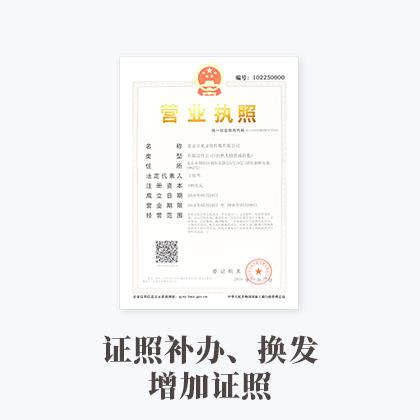 证照补办、换发、增加证照(内资有限公司)69259920737997300