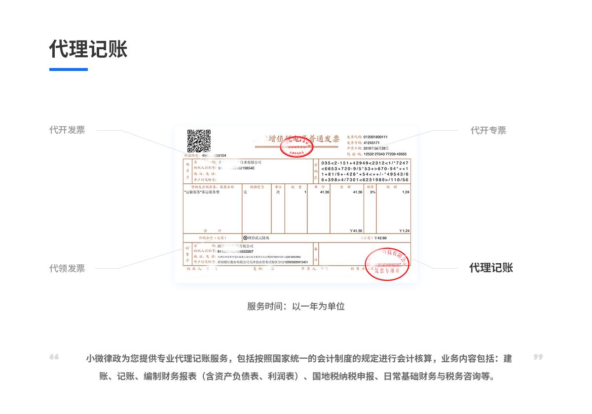 代理记账(内资一般人,一年,0申报含20张票据以内)88536845192106270